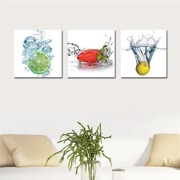 3 Piece Canvas Wall Art Picture Modern Water Fruit Canvas Printing Ptined On Canvas Poster Wall Artwork Home Decor cuadros Cheap