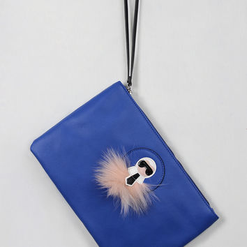 Faux Fur Accent Style Icon Clutch