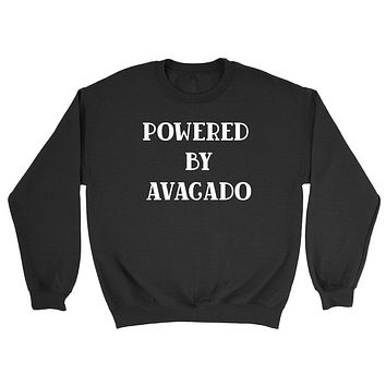 Powered by avacado sweater, funny sweater, workout gym sweaters, vegan Crewneck Sweatshirt