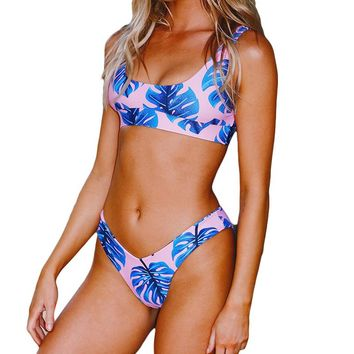PLAVKY 2018 Sexy Scoop Tropical Palm Leaf High Cut Biquini Sport Bathing Suit Swimsuit Thong Swimwear Women Brazilian Bikini