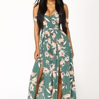Grass Is Greener Floral Jumpsuit - Green