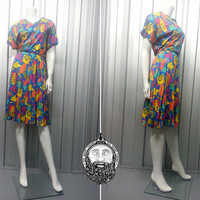 Vintage 80s Multicoloured Abstract Pattern Dress Crazy Print Fresh Prince 1980s Saved by the Bell Hipster Dress Colorful Dress Multi Color