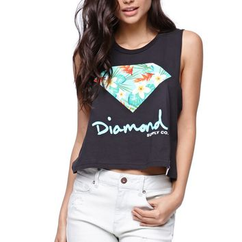 Diamond Supply Co Hawaiian Cropped Muscle T-Shirt - Womens Tee - Black