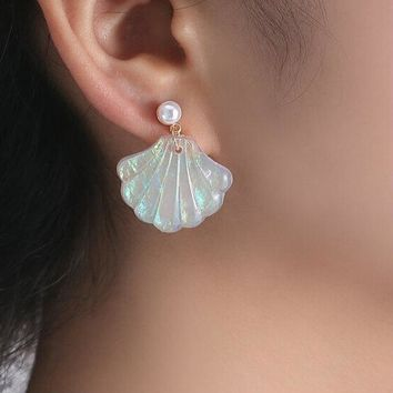 Opal Iridescent Mermaid Seashell Shell Pearl Earrings