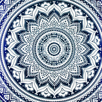 Mandala Tapestry Ombre Dorm Room Decor Wall Hanging Bed Sheet Bedding Blue Green Hippie Bohemian Boho Large Throw Cotton QUEEN 210X240 UK