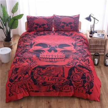 Cool Red Skull Printed Duvet Cover Set 2/3pcs Single Double Queen King Bedclothes Bed Linen Bedding Sets(No Sheet No Filling)AT_93_12