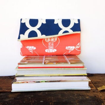 Foldover Clutch - Envelope Clutch - Nautical - Lobster Print - Orange - Blue - Cosmetic Case- Fold Over Zipper Clutch - Party Clutch - Purse