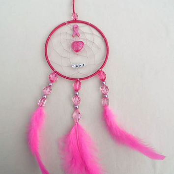 Breast Cancer Awareness dreamcatcher-medium pink