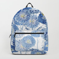 blue indigo dandelion pattern watercolor Backpacks by Color and Color