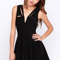 LULUS Exclusive Pretty Positive Black Skater Dress