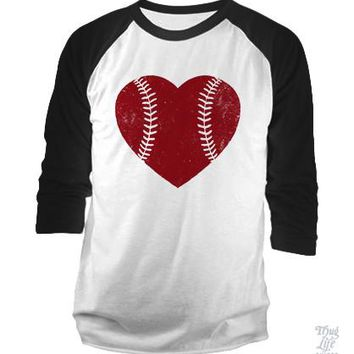 Baseball Heart Red Baseball Shirt