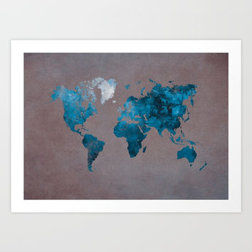 world map 104 blue #worldmap #map Art Print by jbjart