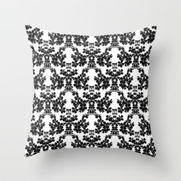 primrose bw pattern Throw Pillow by ARTbyJWP
