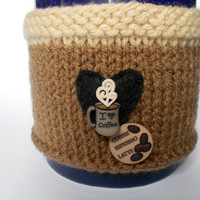 Coffee Lovers Brown Knit Mug Cozy