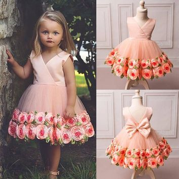 Fancy Flower Girls Dress Lace Rose Party Wedding Pageant Gown Formal Dresses