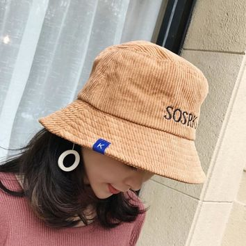 fishing Wide Brim bucket embroidery Letter hat UV protection corduroy summer men hip hop Outdoor fashion hats