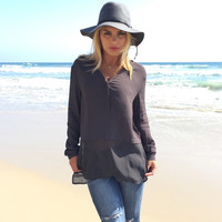 Sheer Heights Blouse In Charocal