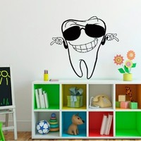 Wall Decals Vinyl Sticker Decal Mural Art Design Smiling Tooth Dental Clinics Nursery Room Chu1300