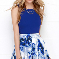 Wyldr Holly Blue and Ivory Floral Print Skirt