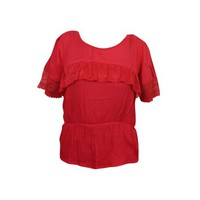 Mogul Womens Solid Top Red Lace Work Short Sleeves Rayon Summer Tops - Walmart.com