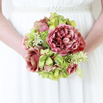 """Silk Hydrangea & Rose Bouquet in Mauve and Green10.25"""" Tall"""