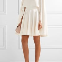Alexander McQueen - Cape-back silk-cady mini dress
