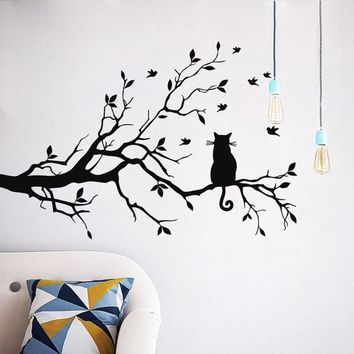 New Qualified Wall Stickers Cat On Long Tree Branch Wall Sticker Animals Cats Art Decal Kids Room Decor Levert Dropship dig6928