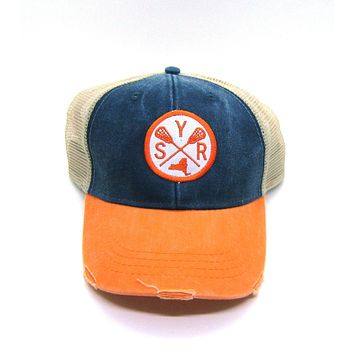 Syracuse Lacrosse Hat - Navy and Orange Distressed Snapback - New York Arrow Compass Patch