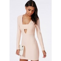 Missguided - Crepe Long Sleeve Plunge Bodycon Dress Nude