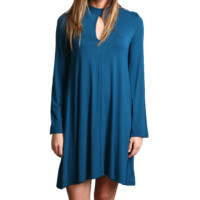 Majolica Blue Piko Keyhole Bell Sleeve Dress