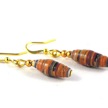 Halloween Earrings Dangle Handmade Paper Bead Earrings Multicoloured Orange Tones on Gold Wires in Handmade Jewellery Pouch
