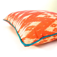 "Toucan // 18"" (46 cm) Bali Ikat decorative accent throw pillow cover, orange with teal piping"
