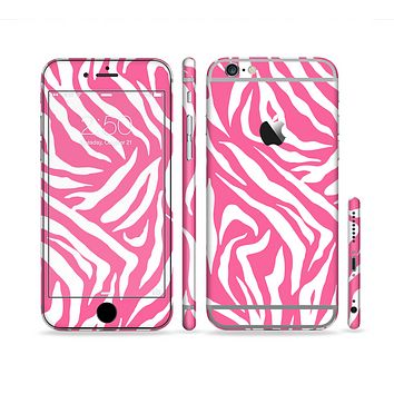The Pink & White Vector Zebra Print Sectioned Skin Series for the Apple iPhone 6
