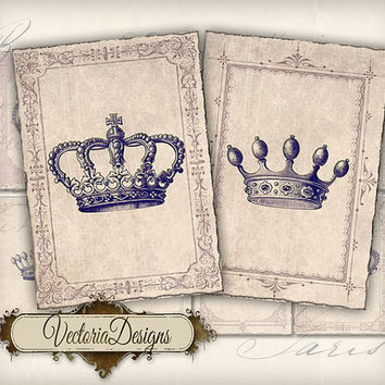 INSTANT DOWNLOAD Crowns ATC vintage images digital background instant download printable collage sheet 133