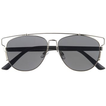 Modern Fashion Panto Flat Front Metal Aviator Sunglasses A121