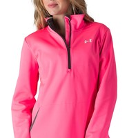 Under Armour Women's ColdGear Power in Pink Neon Pink Evo Performance 1/4 Zip Fleece Lined Jacket
