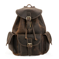 Mens Drawstring Distressed Leather Backpack With Front Pockets
