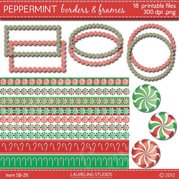 peppermint border clipart and frames, christmas clip art borders peppermint clip art commercial use DIGITAL DOWNLOAD SB-26