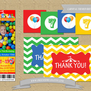 Carnival Ticket Invitation, Thank You Card, Cupcake Toppers/Favor Tags - Custom Birthday Party Package (Printable)
