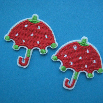 Sale~ 2 pcs Iron-on Embroidered applique Strawberry Umbrella 1.5 inch