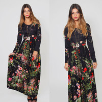 Vintage 70s Floral Maxi Dress Gradient FLORAL Dress Black Colorful Boho Chic Dress