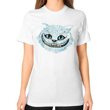 Cheshire Cat blue Unisex T-Shirt (on woman)