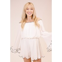 Avignon Pleated Chiffon Romper, White | Endless Rose