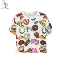 Latest New Women Casual Fast Food Print T-Shirt Crop Top One Size In White/Black Free Shipping