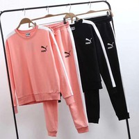PUMA Women Casual Top Sweatshirt Pants Sweatpants Set Two-Piece Sportswear