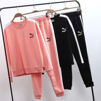 puma women casual top sweatshirt pants sweatpants set two piece sportswear  number 1