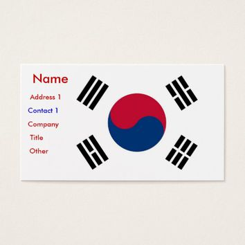 Business Card with Flag of South Korea