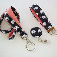 Lanyard ID Badge Holder - retractable Reel - Key FOB / KeyChain / Wristlet Set - White elephants on black coral - coworker gift under 25