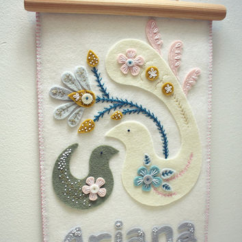Custom Name Embroidery wool felt Art - Baby Name Embroidery - Nursery Wall Art - Embroidery Felt Art - Baby Shower Gift. Free shipping.