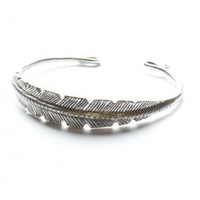 Brandy ♥ Melville |  Silver Feather Bangle - Jewelry - Accessories